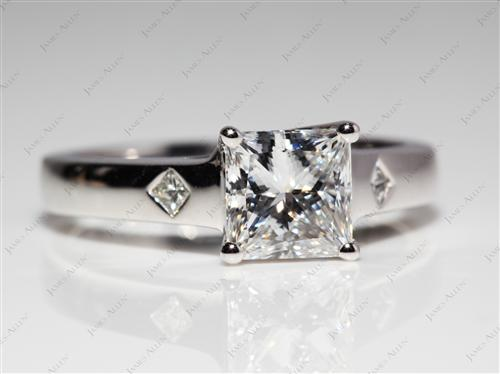 Platinum 1.32 Princess cut Diamond Engagement Solitaire Rings