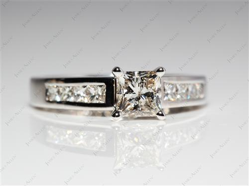 White Gold 0.76 Princess cut Engagement Ring