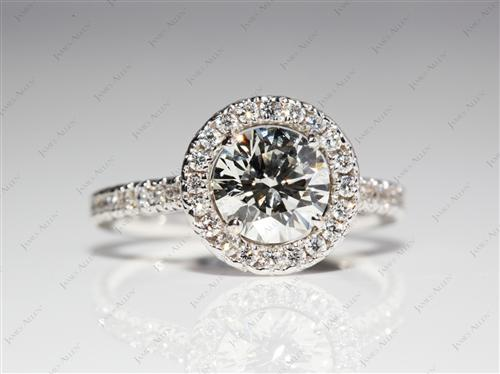 White Gold 0.87 Round cut Micro Pave Setting