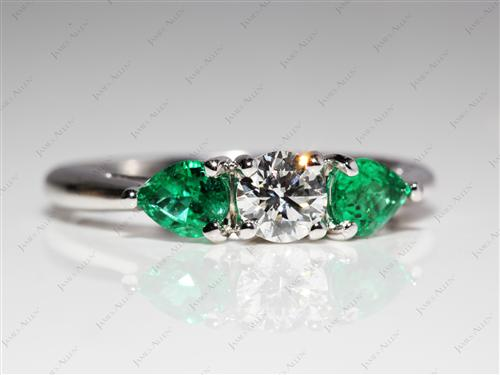 White Gold 0.40 Round cut Emerald Cut Diamond Engagement Rings
