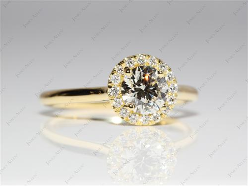 Gold 0.72 Round cut Diamond Ring