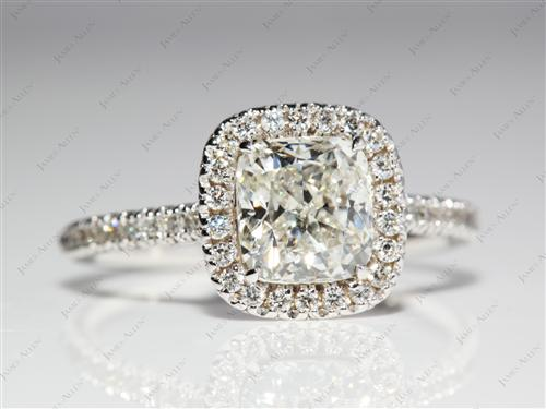 White Gold 1.73 Cushion cut Micro Pave Settings