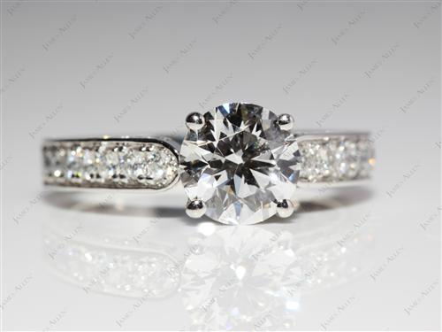 Platinum 1.35 Round cut Pave Ring Mountings