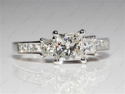 White Gold 1.03 Princess cut Diamond Ring With Sidestones