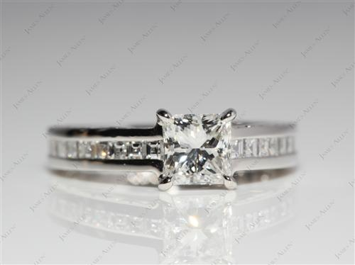 Platinum 0.70 Princess cut Channel Engagement Rings