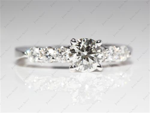 White Gold 0.76 Round cut Side Stone Engagement Rings