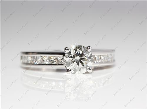 White Gold 0.72 Round cut Channel Set Diamond Engagement Ring