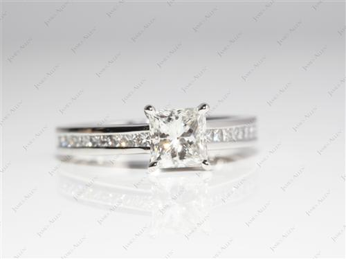 Platinum 1.02 Princess cut Channel Setting Engagement Ring