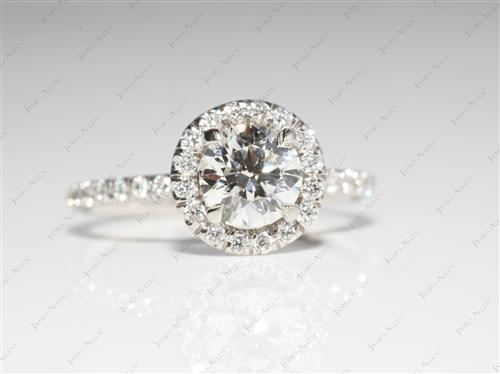 Platinum 0.75 Round cut Pave Ring