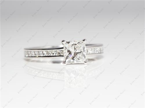 White Gold 1.03 Princess cut Channel Setting Engagement Ring