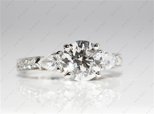 Platinum 1.50 Round cut Engagement Rings
