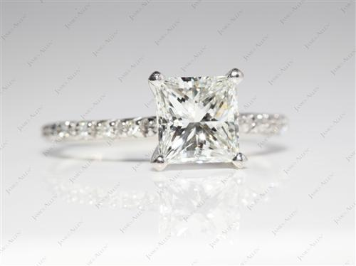Platinum 1.51 Princess cut Wedding Rings