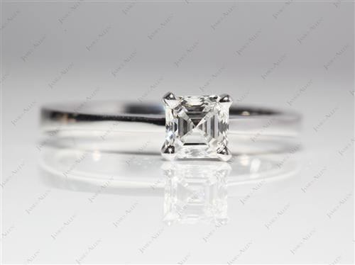 White Gold 0.71 Emerald cut Solitaire Ring Designs