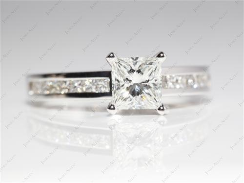 White Gold 1.04 Princess cut Channel Set Engagement Rings