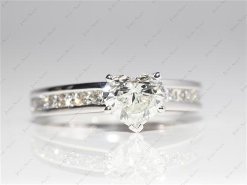 White Gold 1.04 Heart shaped Channel Engagement Ring