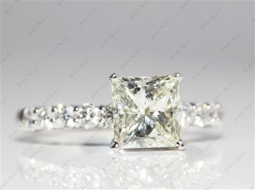 White Gold 1.73 Princess cut Princess Cut Engagement Rings With Side Stones