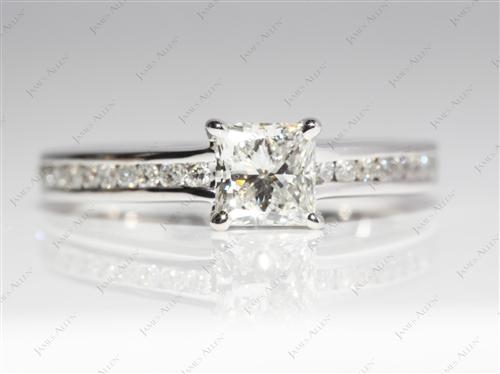 White Gold 0.75 Princess cut Channel Set Diamond Ring