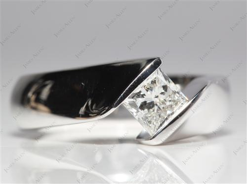 White Gold 0.78 Princess cut Tension Ring