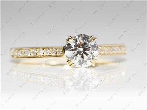 Gold 0.70 Round cut Diamond Pave Rings