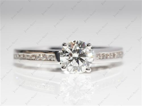 White Gold 0.78 Round cut Channel Diamond Ring