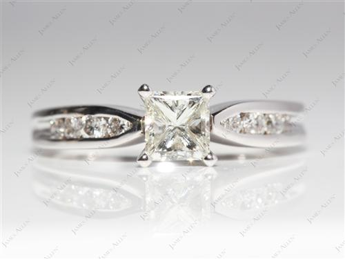 White Gold 0.70 Princess cut Channel Set Diamond Rings