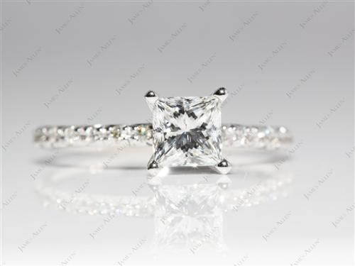 White Gold 0.72 Princess cut Pave Diamond Engagement Ring