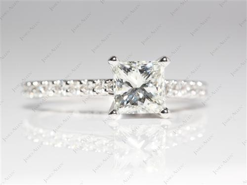 White Gold 1.00 Princess cut Diamond Ring With Sidestones