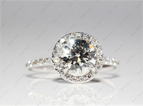 White Gold 1.34 Round cut Pave Engagement Ring
