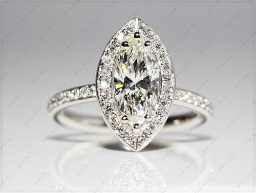 Platinum 1.05 Marquise cut Micro Pave Diamond Rings