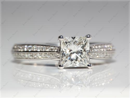White Gold 0.97 Princess cut Meno Engagement Rings