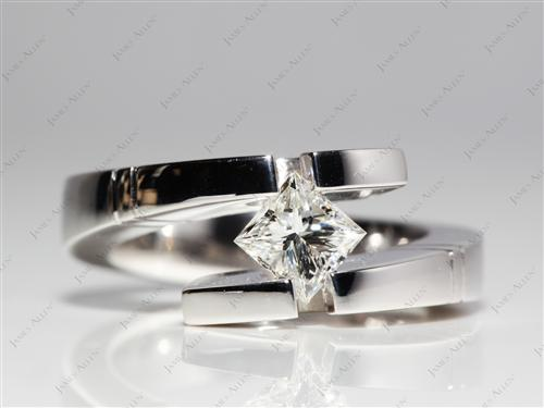 White Gold 0.70 Princess cut Tension Ring