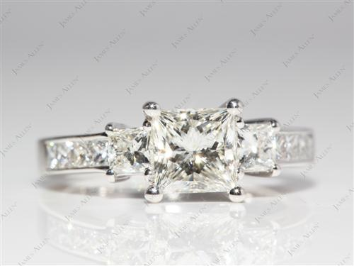 White Gold 1.04 Princess cut Engagement Ring With Side Stones