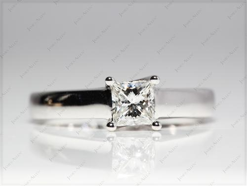 White Gold 0.50 Princess cut Solitaire