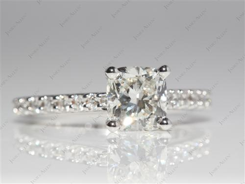 White Gold 1.02 Cushion cut Engagement Ring Settings With Side Stones