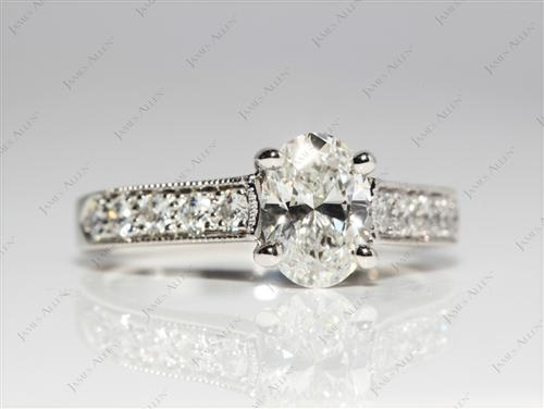 Platinum 0.93 Oval cut Diamond Pave Ring