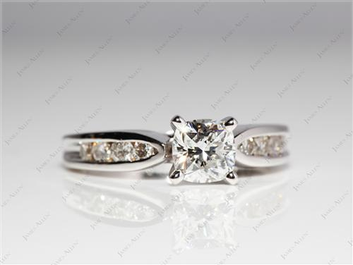 White Gold 0.70 Cushion cut Channel Set Diamonds