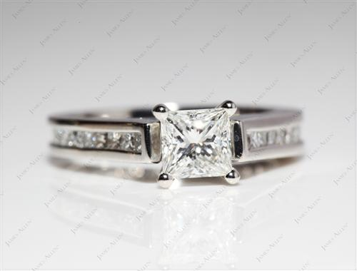 Platinum 0.70 Princess cut Channel Set Diamond Ring