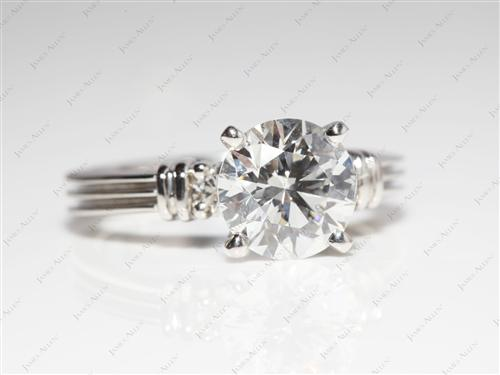 Platinum 1.82 Round cut Engagement Ring With Side Stones