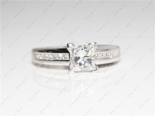 Platinum 1.08 Princess cut Channel Set Diamond Rings