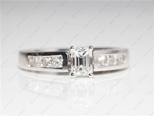 White Gold 0.51 Emerald cut Bridal Wedding Sets