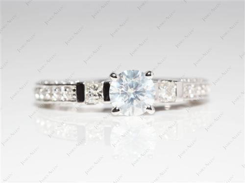 White Gold 0.64 Round cut Diamond Pave Ring