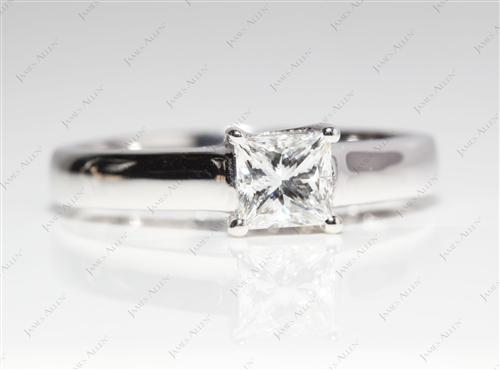 White Gold 0.71 Princess cut Solitaire Engagement Ring