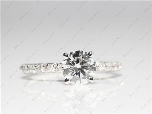 White Gold 1.11 Round cut Diamond Pave Ring