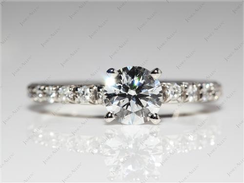 Platinum 0.77 Round cut Pave Ring