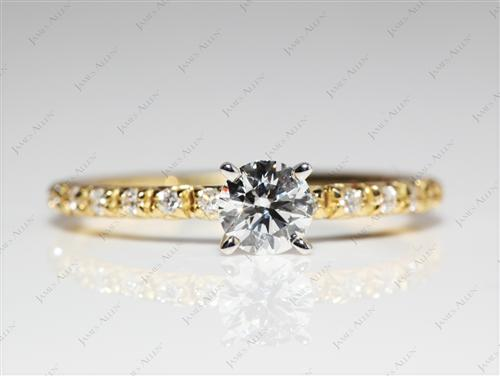 Gold 0.31 Round cut Engagement Ring