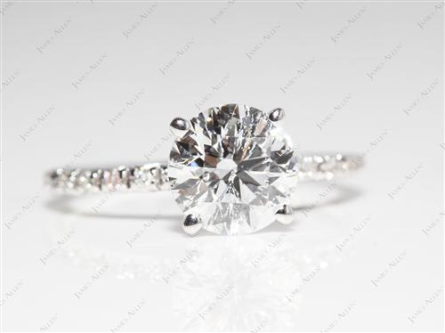 White Gold 1.58 Round cut Diamond Ring