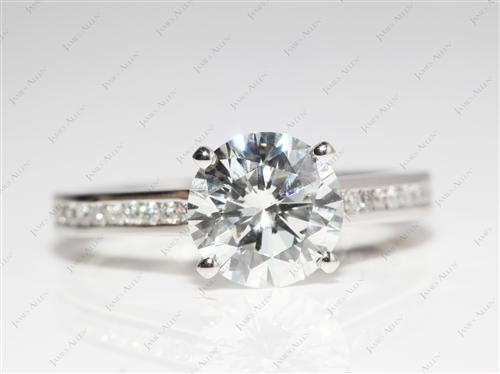 Platinum 2.03 Round cut Channel Set Diamond Engagement Ring