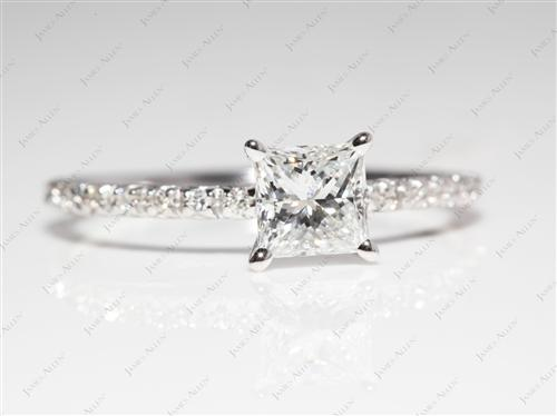 White Gold 0.77 Princess cut Pave Ring Set