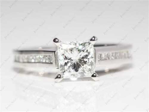 Platinum 1.31 Princess cut Channel Set Diamond Engagement Rings