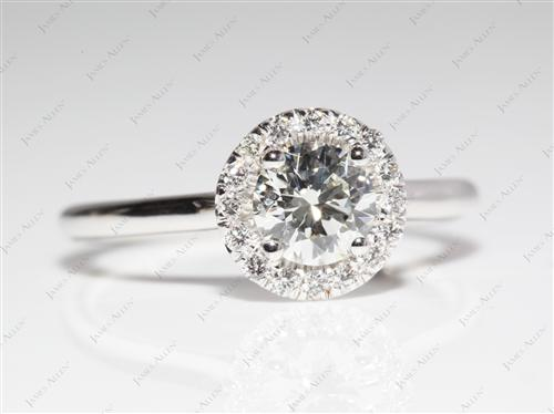 White Gold 0.61 Round cut Micro Pave Engagement Rings
